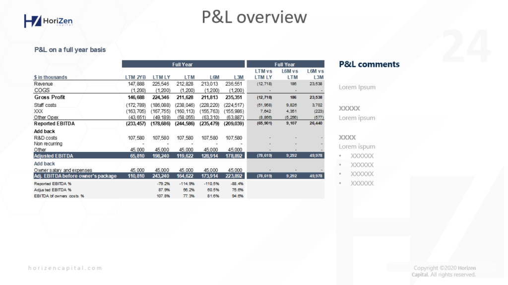 Startup Pitch Deck - P&L Overview