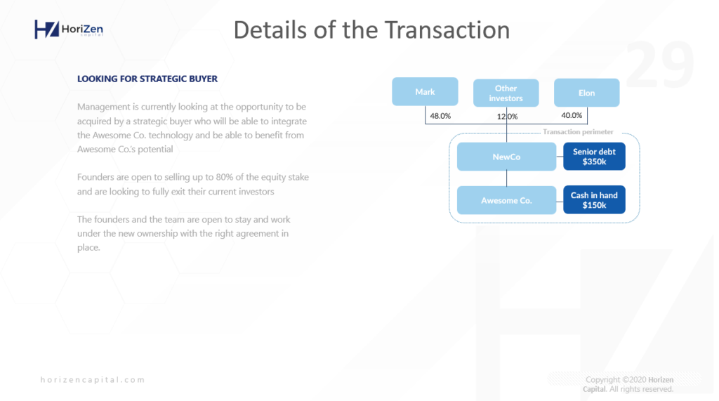 Startup Pitch Deck - Details of the Transaction
