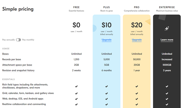Startup Pitch Deck - Pricing Plans