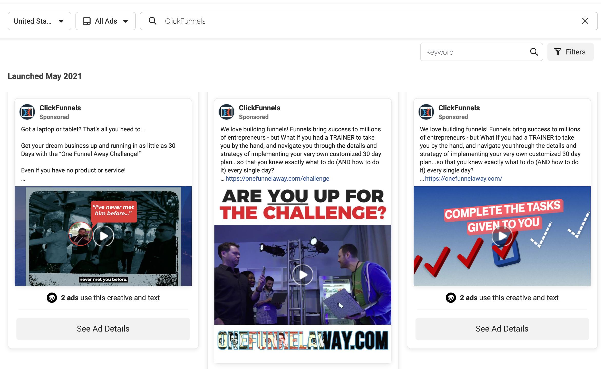 ClickFunnels Ad Library
